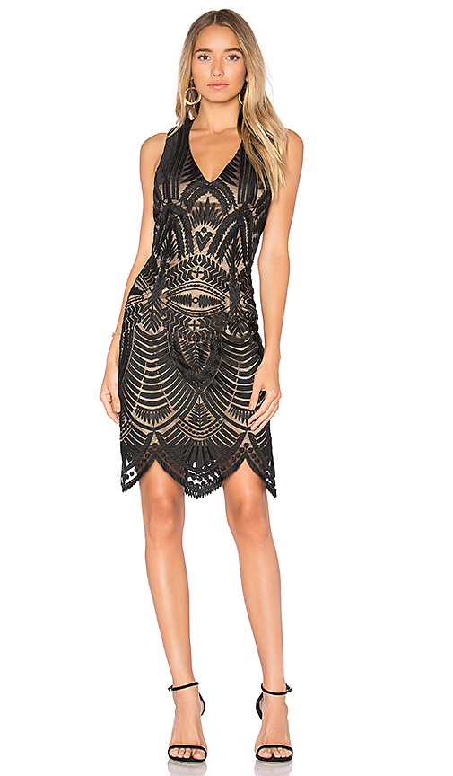 Bardot Lace Embroidered Dress in Black
