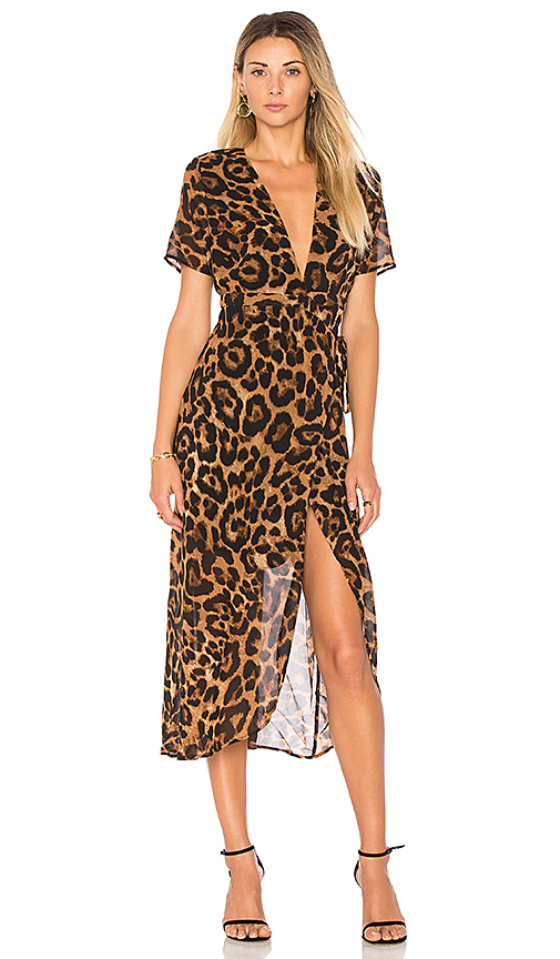 Bardot Leopard Wrap Dress in Brown. - size Aus 10 / US S (also in Aus 8 / US XS)