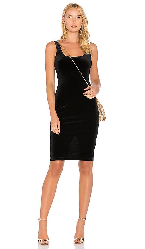 Bardot X REVOLVE Velvet Midi Dress in Black