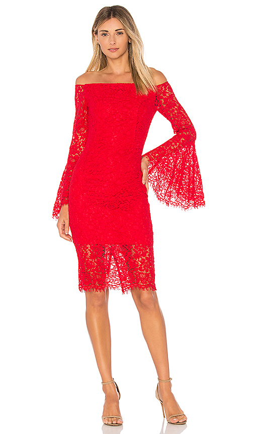 Bardot Solange Lace Dress in Red