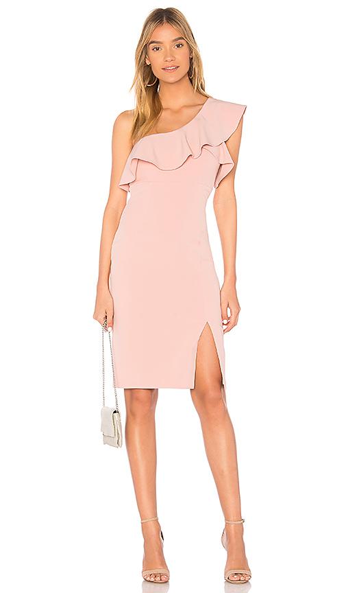 Bardot Ruffle Dress in Pink