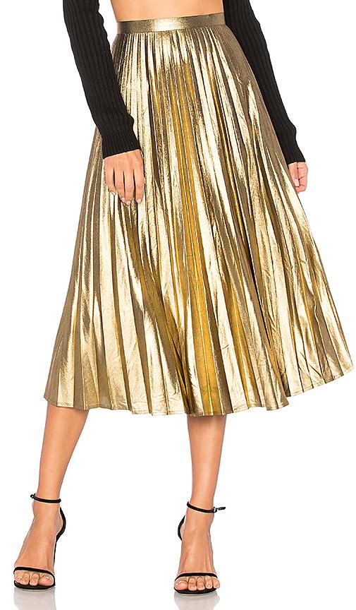 Bardot Wild Hearts Midi Skirt in Metallic Gold. - size Aus 10 / US S (also in Aus 12 / US M,Aus 14 / US L,Aus 8 / US XS)