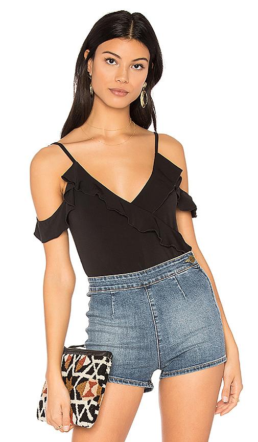 Bardot Ruffle Bodysuit in Black