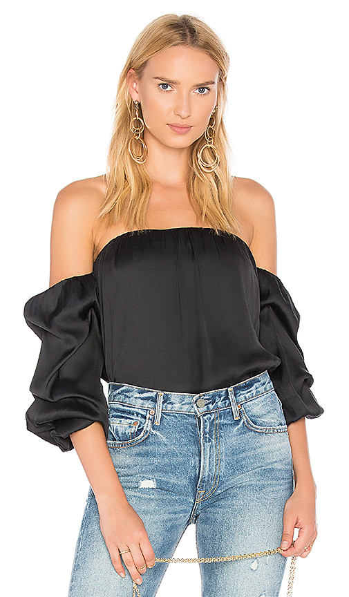 Bardot Caught Sleeve Bustier Top in Black