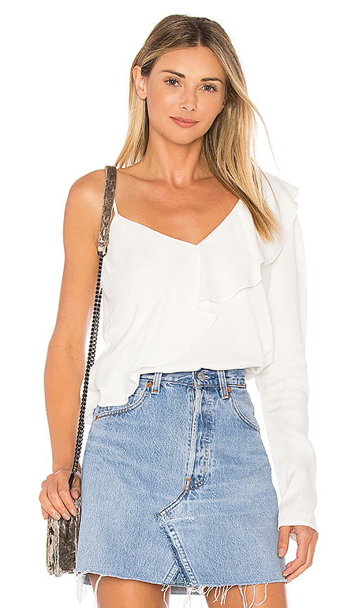 Bardot One Frill Top in Ivory