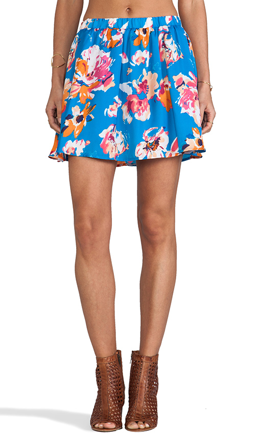 Jack by BB Dakota Camisha Floral Mini Skirt in Blue