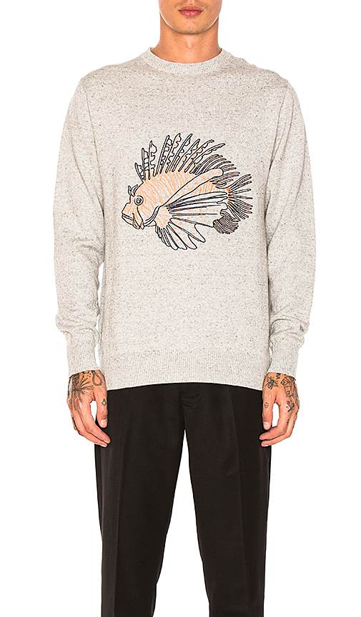 Barney Cools Lion Fish Knit Pullover in Gray. - size L (also in M,S,XL)