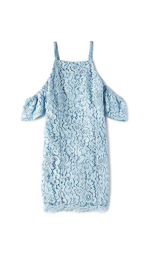Bardot Junior Scallop Lace Trim Dress in Baby Blue. - size 4 (also in 5,6,7)