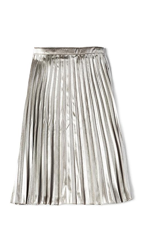 Bardot Junior Metallic Pleated Skirt in Metallic Silver. - size 4 (also in 5,6,7)