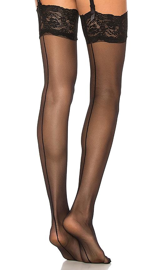 BLUEBELLA Back Seam Leg Lace Top Hosiery in Black