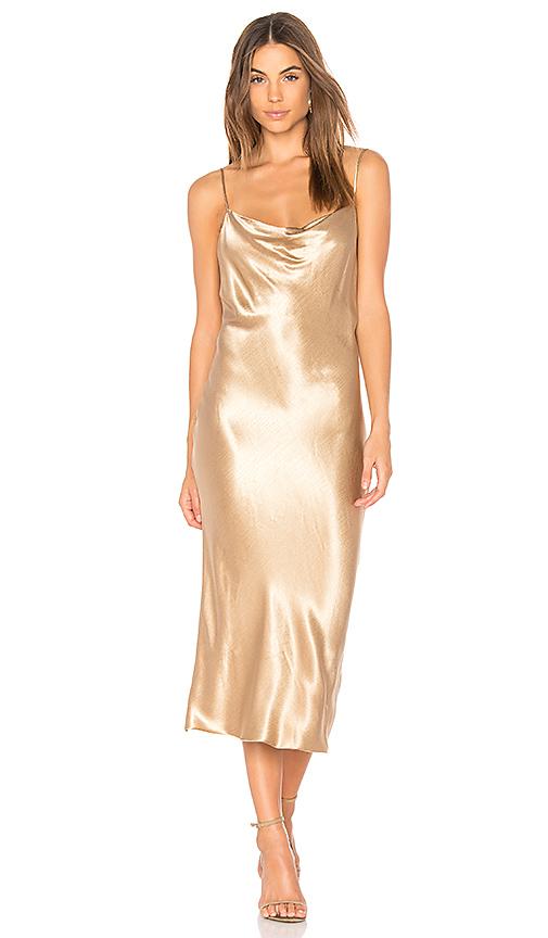 BEC & BRIDGE Shimmy Nights Cowl Dress in Metallic Gold
