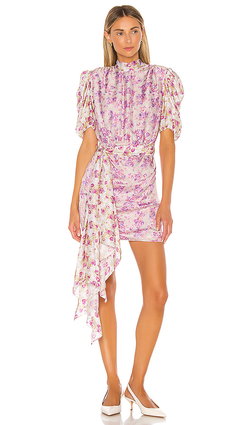 HEMANT AND NANDITA Floral Mini Dress in Purple. - size XS (also in L,M,S)