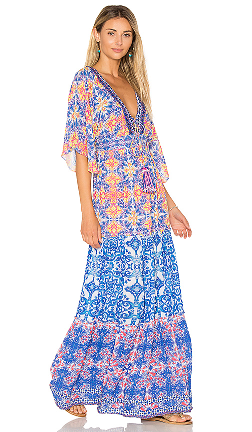 HEMANT AND NANDITA Deep V Maxi Dress in Blue
