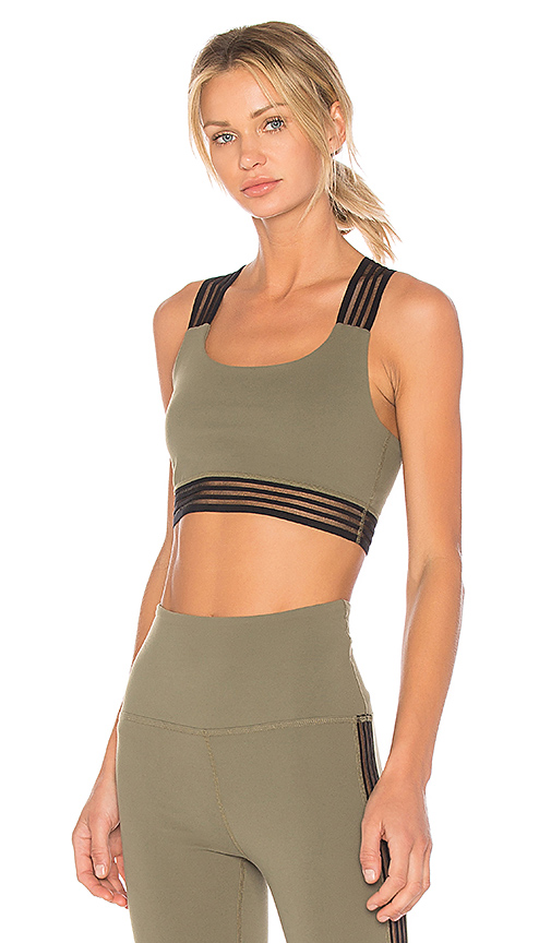 Beyond Yoga Sheer Illusion Bralet in Army. - size L (also in M,S,XS)