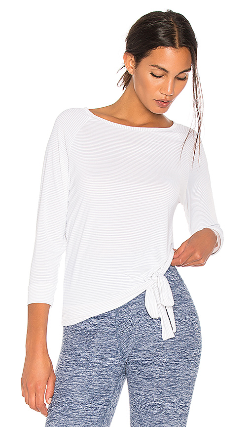 Beyond Yoga True Stripes 3/4 Sleeve Pullover in White