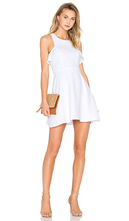 BCBGeneration High Neck Ruffled Dress in White