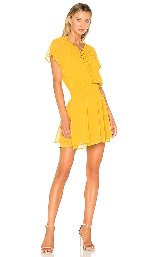 BCBGeneration Short Sleeve Blouson Dress In Golden Rod in Yellow