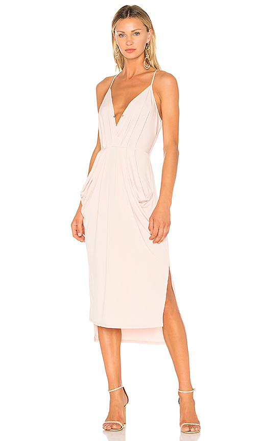 BCBGeneration Midi Faux Wrap Dress In Rose Smoke in Pink. - size L (also in M,S,XS)