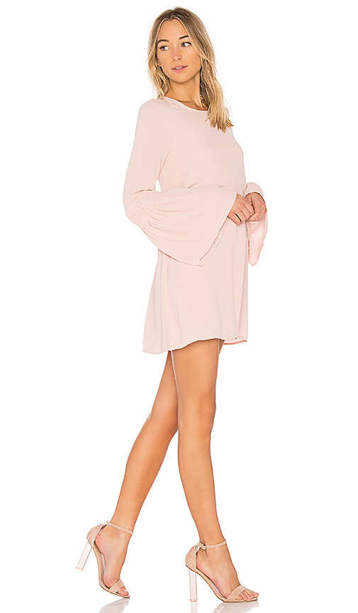 BCBGeneration Smocked Sleeve Shift Dress In Rose Smoke in Blush