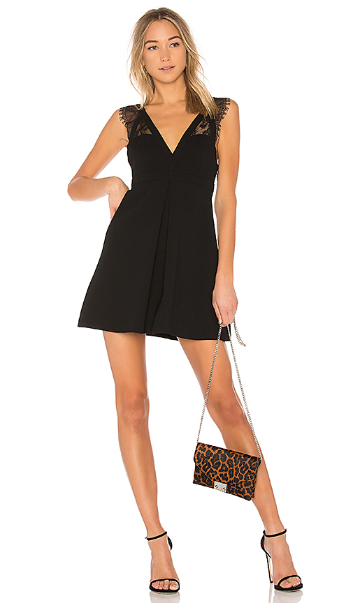 BCBGeneration Dress With Lace Trim In Black in Black
