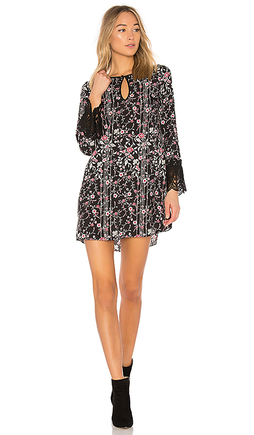 BCBGeneration Shirt Dress With Lace Trim In Black Combo in Black. - size L (also in XS,S,M)