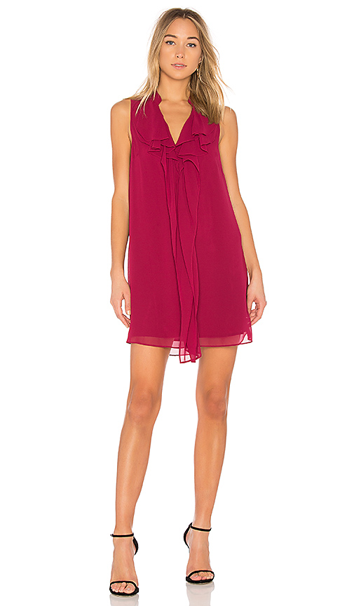BCBGeneration Ruffle Tent Dress In Garnet in Wine