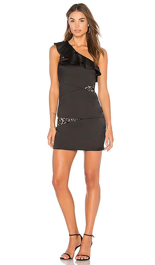 BCBGeneration Asymmetrical Dress In Black in Black