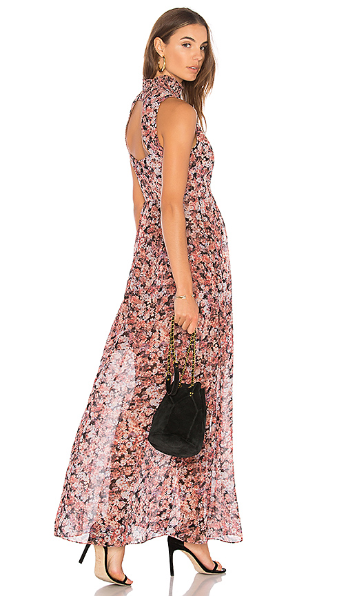 BCBGeneration Smocked Neck Maxi Dress In Rose Bloom Combo in Pink