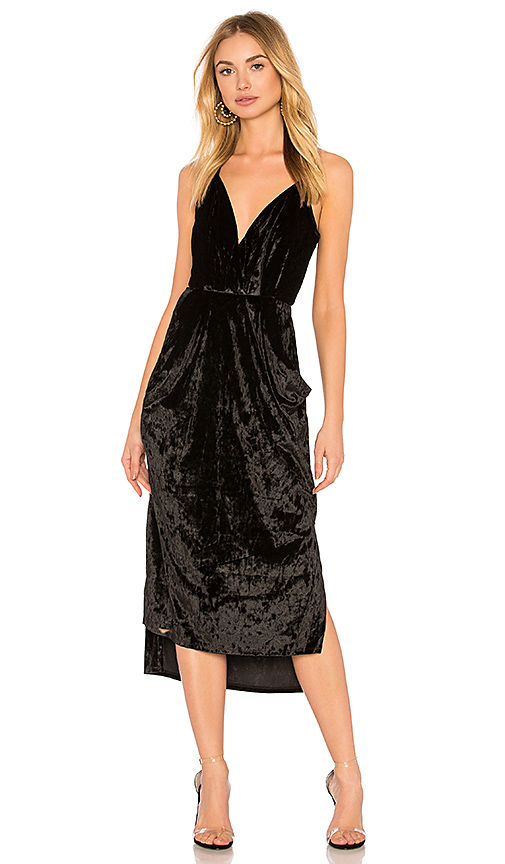 BCBGeneration Midi Faux Wrap Dress In Black in Black