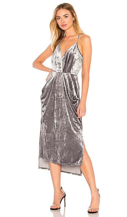 BCBGeneration Midi Faux Wrap Dress In Grey Frost in Gray
