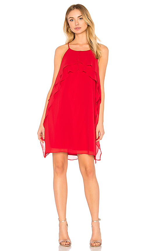 BCBGeneration Ruffle Dress In Chili Pepper in Red