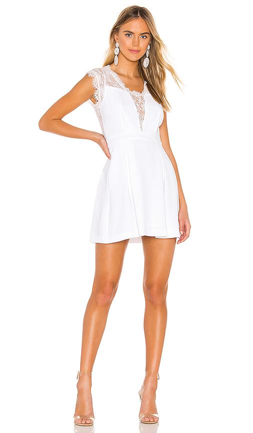 Bcbgeneration Dresses BCBGENERATION LACE TRIM MINI DRESS IN WHITE.