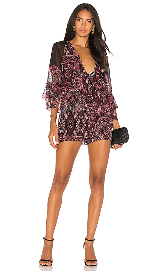 BCBGeneration Ruffle Sleeve Romper In Brulee Black Combo in Black. - size L (also in M,S,XS)