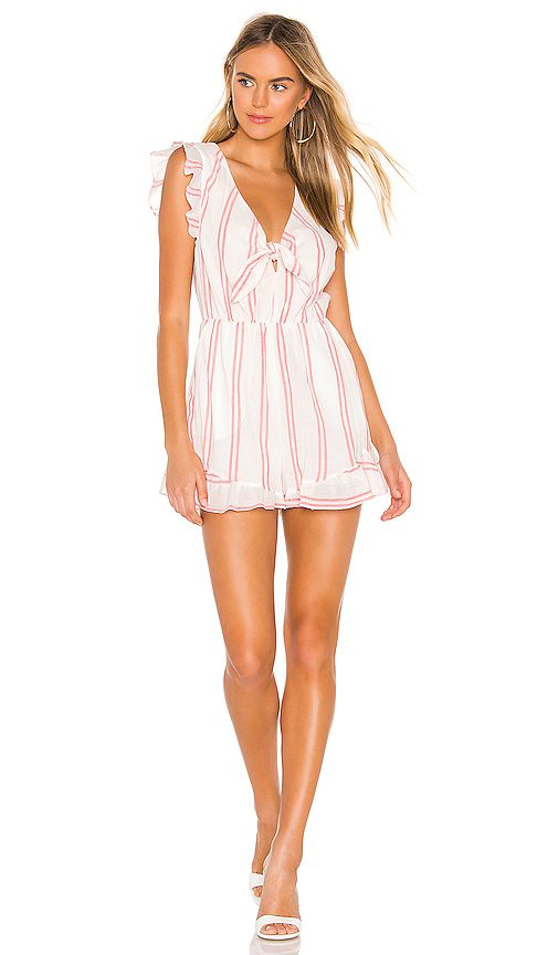 Bcbgeneration Tops BCBGENERATION KNOT FRONT ROMPER IN OPTIC WHITE