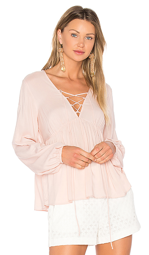 BCBGeneration Lace Up Blouse in Pink. - size L (also in M,S,XS)