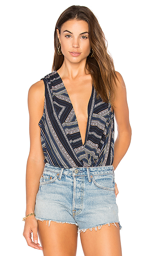 BCBGeneration Faux Wrap Bodysuit in Navy