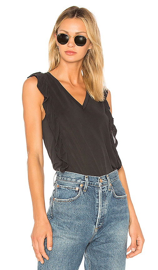 BCBGeneration Ruffle Sleeve Top In Black in Black