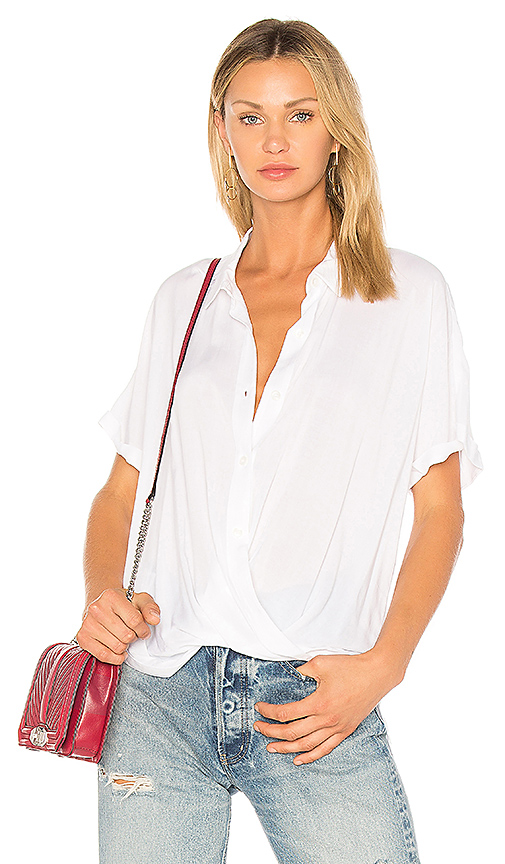BCBGeneration Wrap Hem Dolman Shirt In Optic White in White
