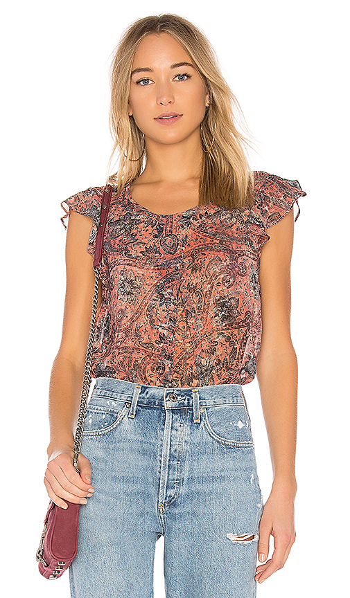 BCBGeneration Crossover Pleat Ruffle Sleeve Top In Rust Multi in Brick