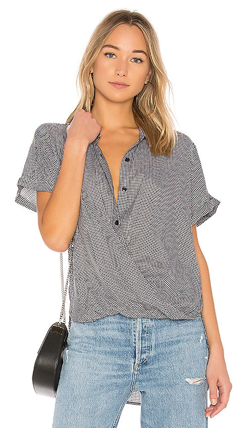 BCBGeneration Wrap Hem Button Up in Black
