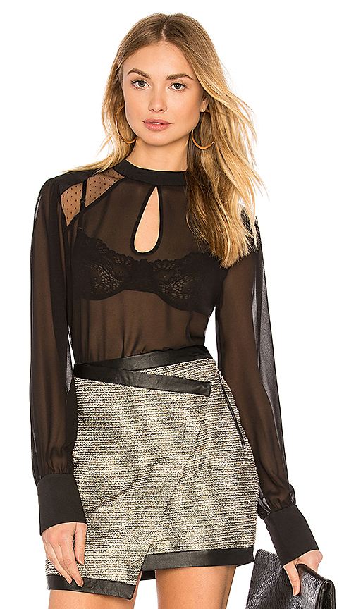 BCBGeneration Double Keyhole Blouse In Black in Black
