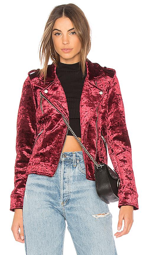 BLANKNYC Velvet Moto Jacket in Red. - size XS (also in L,M,S)