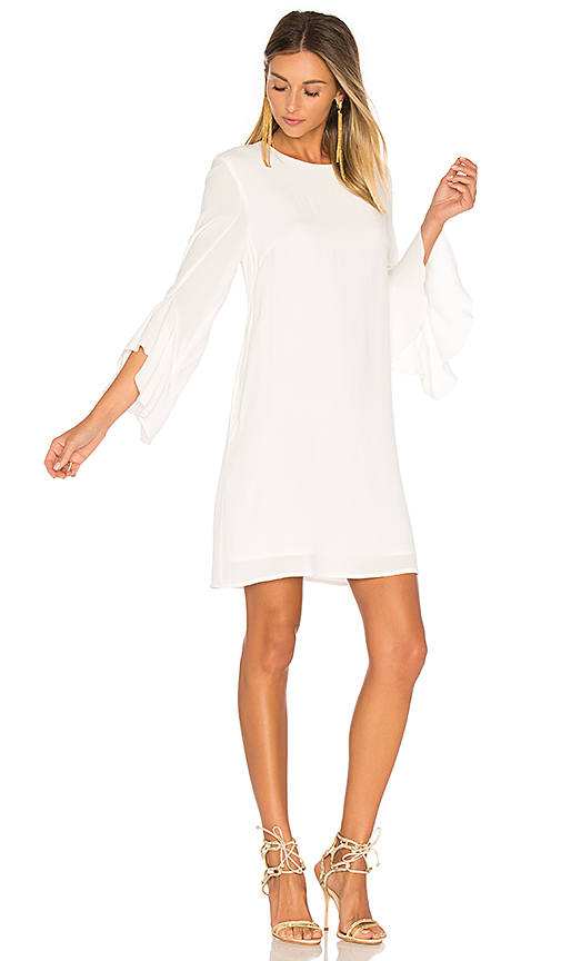 BLAQUE LABEL Ruffle Sleeve Dress in White