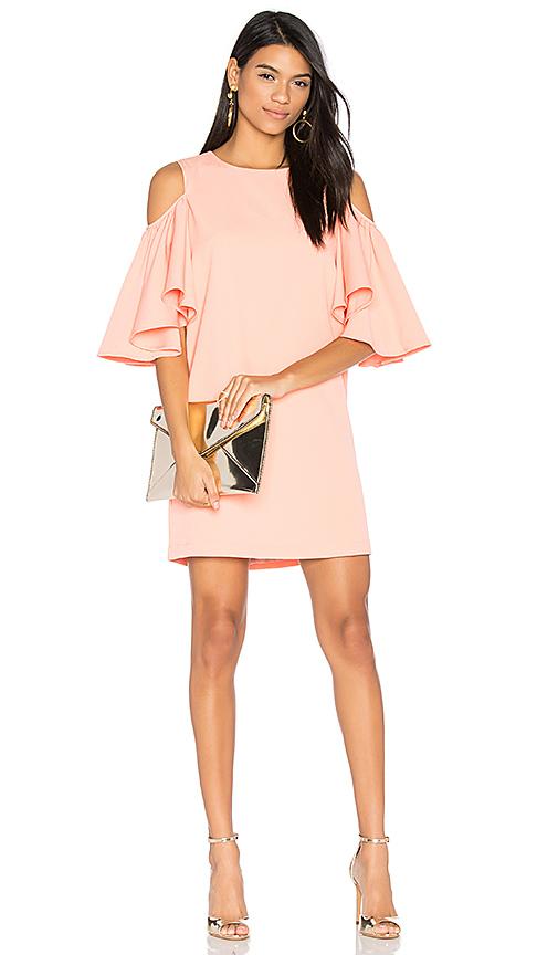 BLAQUE LABEL Cold Shoulder Dress in Peach