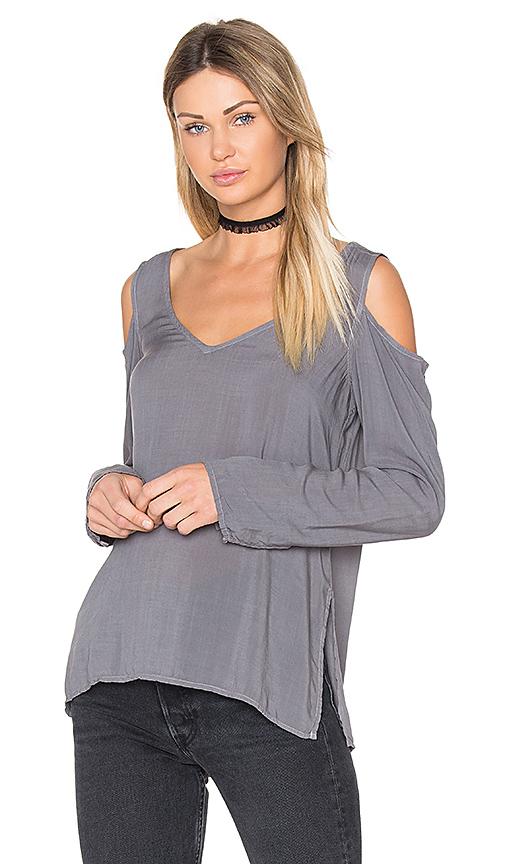 Bella Dahl Cold Shoulder V Neck Blouse in Gray