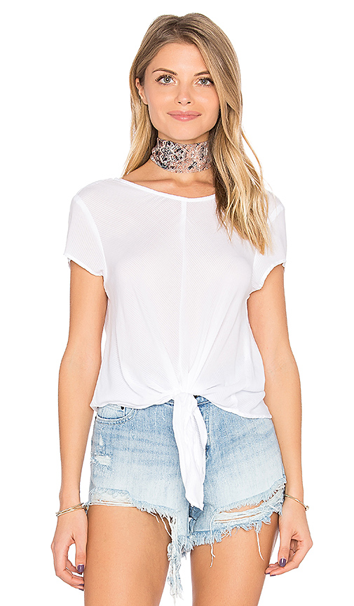 Bella Dahl Capsleeve Tie Front Tee in White. - size L (also in M,S,XS)