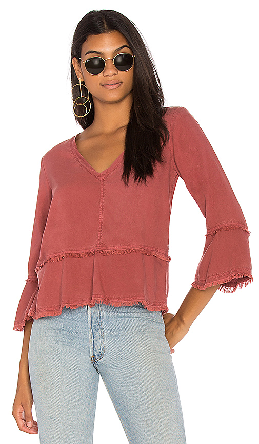 Bella Dahl Frayed Bell Sleeve Top in Red