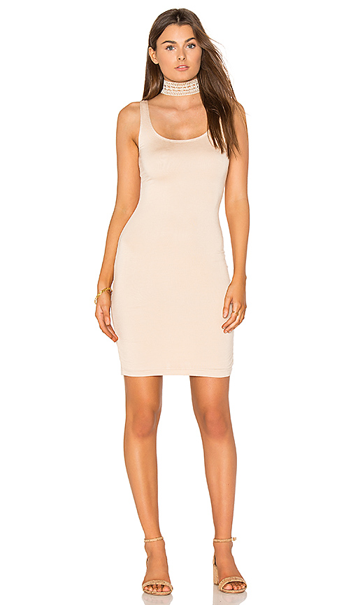 BLQ BASIQ Fitted Midi Dress in Beige
