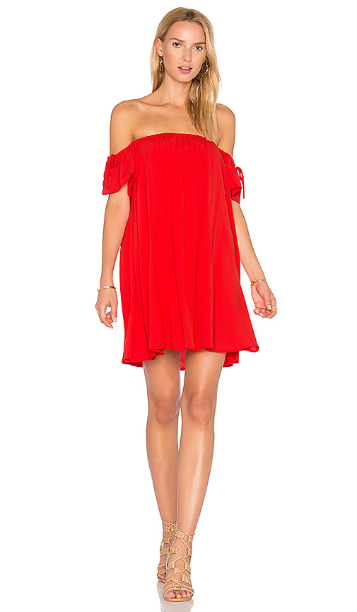 BLQ BASIQ Off Shoulder Baby Doll Dress in Red