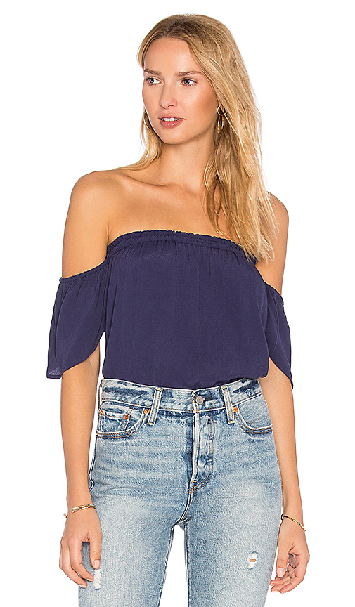 BLQ BASIQ Bare Shoulder Top in Navy